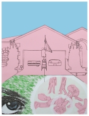 """Domestic Qualities #1""//screen print, acrylic, graphite on paper//29""x41"""