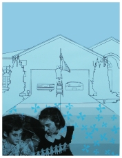"""Domestic Qualities #4""//screen print, acrylic, graphite on paper//29""x41"""